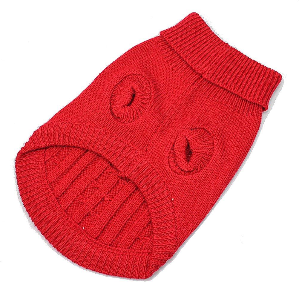 Rouge mignon animal de compagnie de chien de chiot de crabot de cavalier chaud pull tricot vêtements XS PetKissy