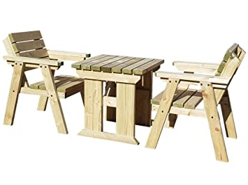 Phenomenal Hazels Wooden Garden Table Chairs Set Seats 2 People Heavy Duty Handmade Outdoor Furniture In Uk Pressure Treated Light Green Natural Download Free Architecture Designs Rallybritishbridgeorg