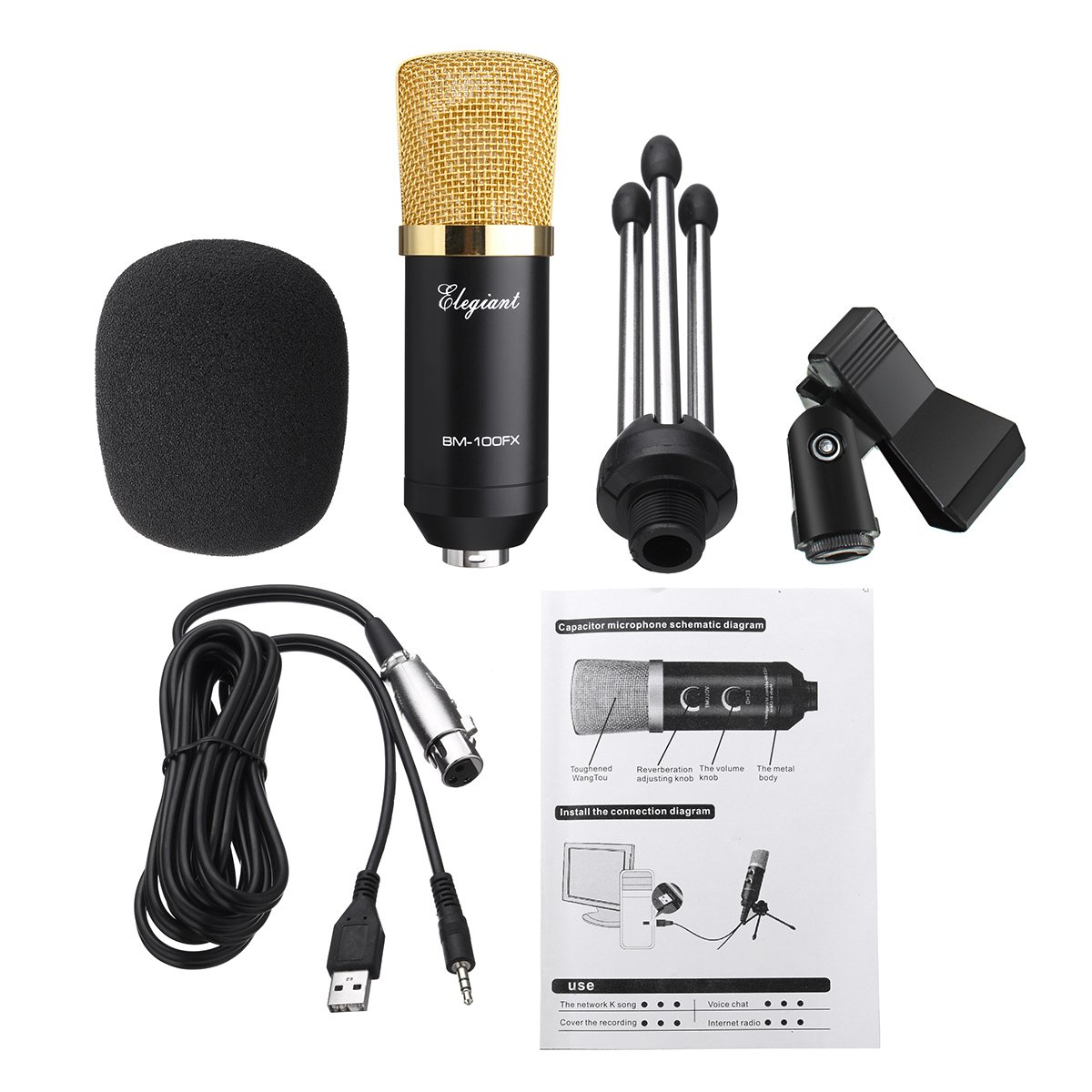 Elegiant Professional Bm 100fx Usb Microphone Condenser For Studio Schematic On Wiring Diagram Depodcast Transmission Recording And Pc Laptop With Gold Tripod Stand
