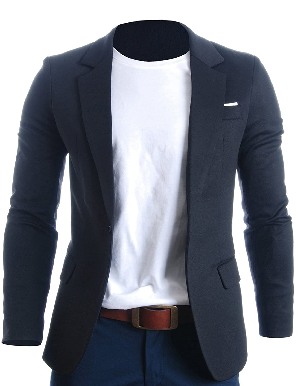 FLATSEVEN Slim Fit Chaqueta Blazer Casual Premium Hombre