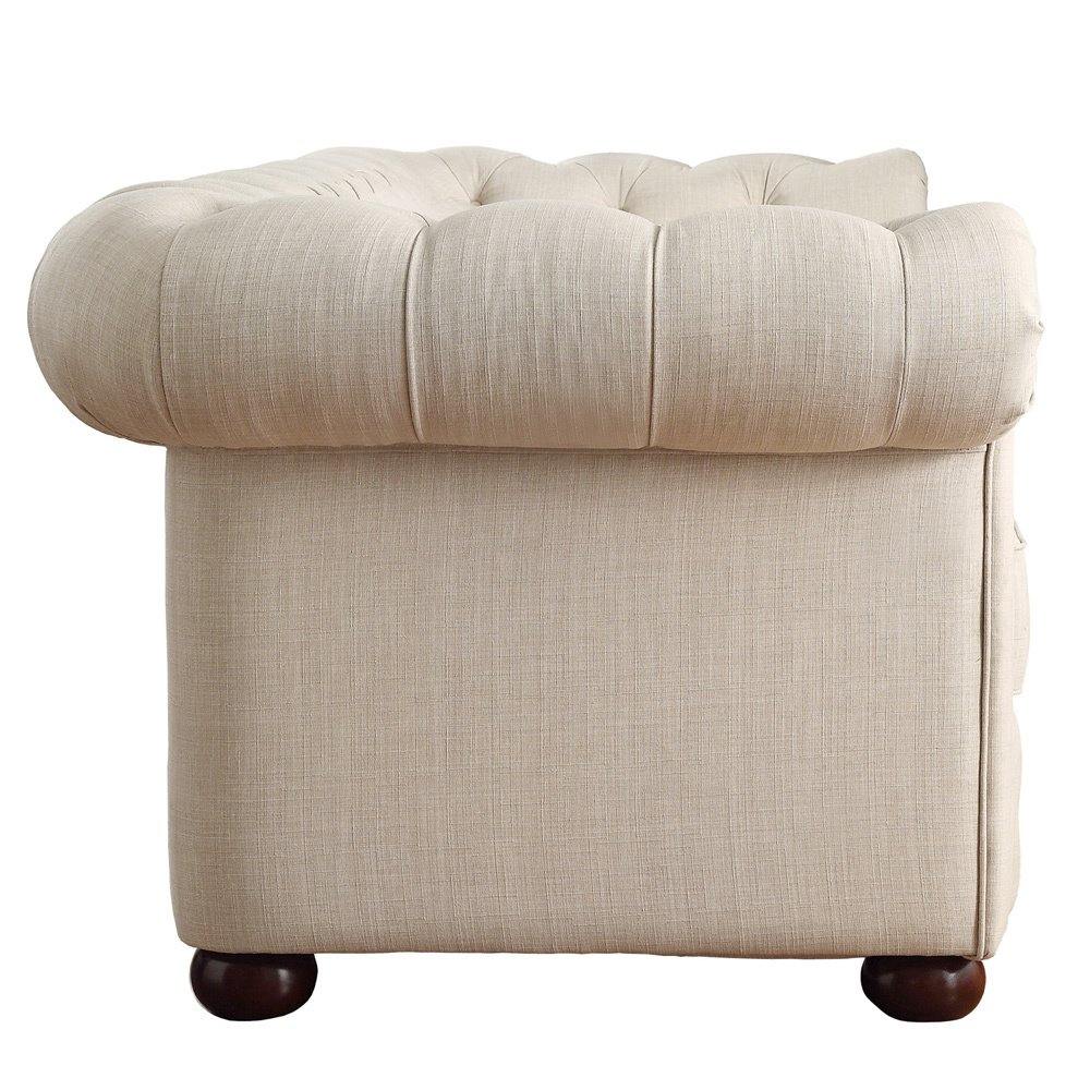 Amazon.com: Classic Scroll Arm Button Tufted Chesterfield Style Beige Sofa  Includes ModHaus Living (TM) Pen: Kitchen & Dining