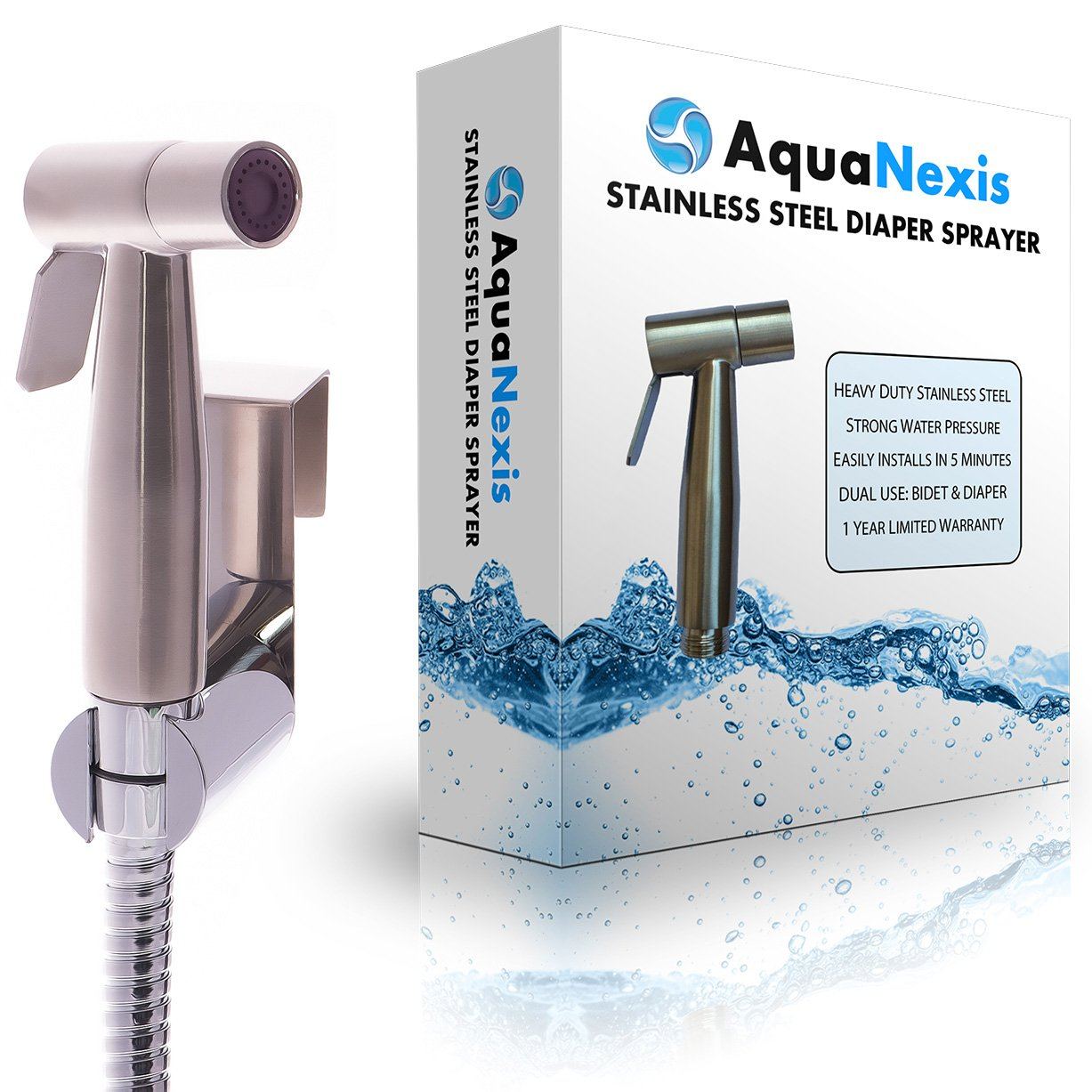 Premium Stainless Steel Bathroom Handheld Bidet Toilet Sprayer - Shattaf Sprayer Best Used for Personal Hygiene and Potty Toilet Spray - Perfect Bottom Cleaner Spray & Shower Attachment, by Aqua Nexis