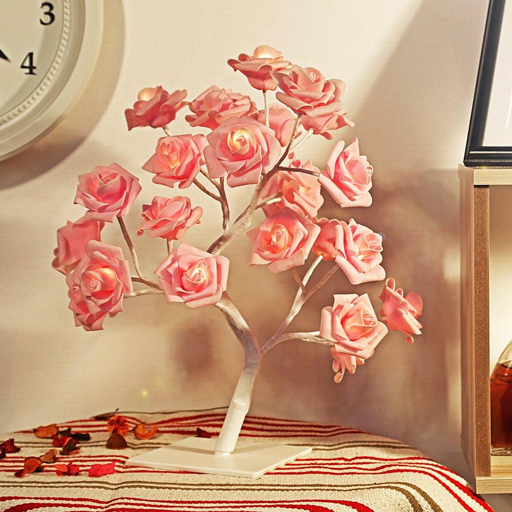 iLifeSmart 32 pz batteria alimentato LED rosa lampada fiore lampada lampada da tavolo lampada decorativa con rami flessibili per decorazione casa, decorazione di Pasqua, decorazione di Natale, festa celebrazione Use(Pink) YYJ