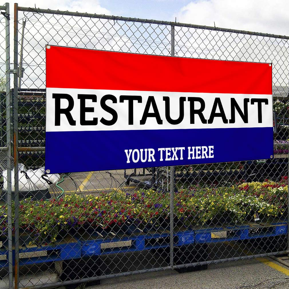 Custom Industrial Vinyl Banner Multiple Sizes Restaurant Style B Personalized Text Here Funny and Novelty Outdoor Weatherproof Yard Signs Red 10 Grommets 60x144Inches