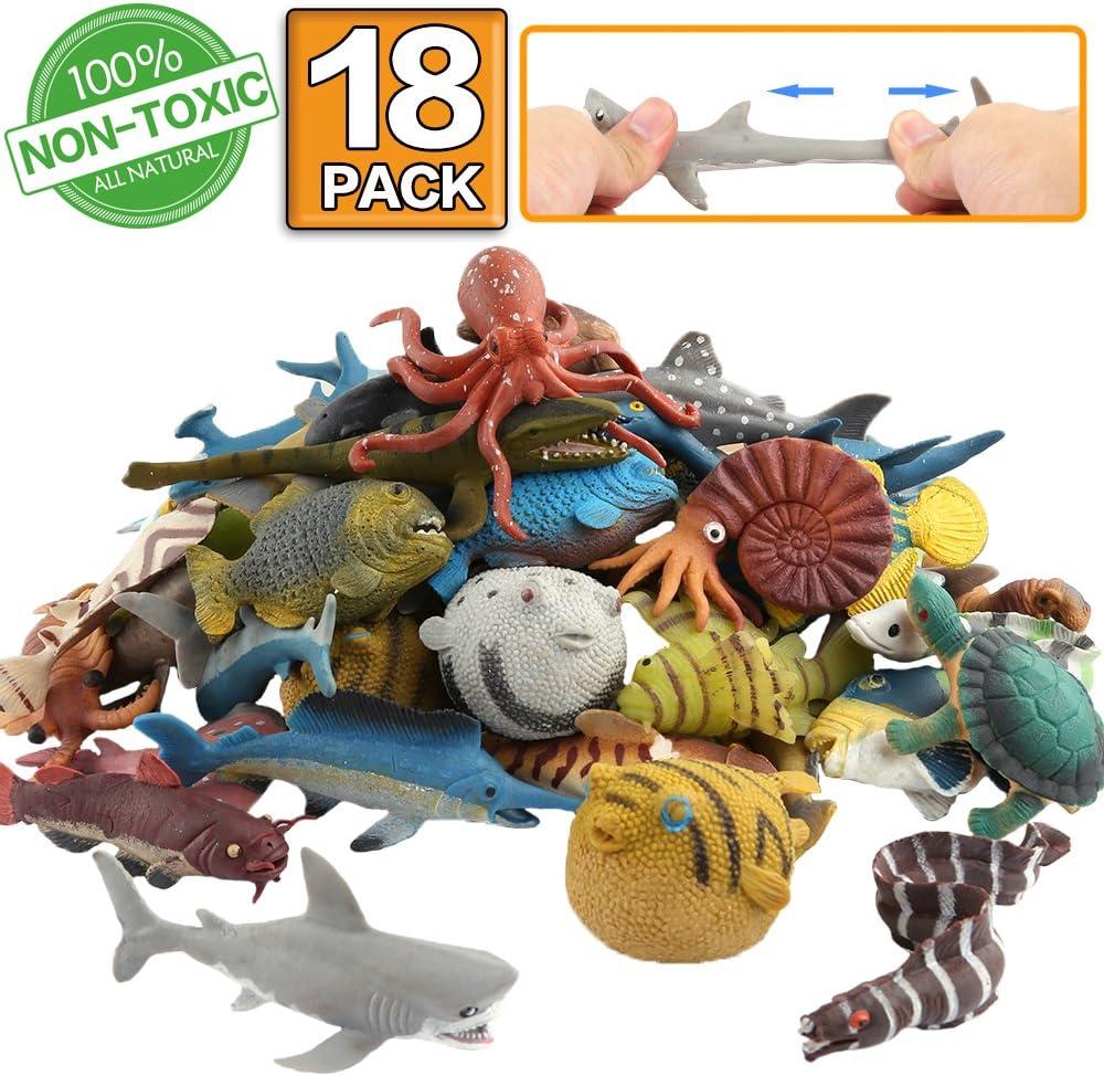 Animal marino, 18 paquetes de juguetes de goma de baño,Se puede cambiar el color de algunos tipos, fiesta de las figuras del mundo zoológico de juguete de baño flotante y blando, baño con tiburón