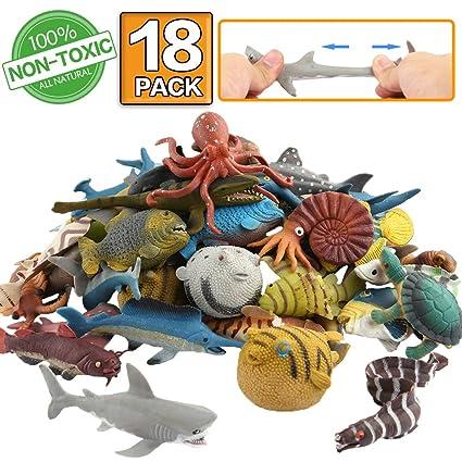 Amazon Com Ocean Sea Animal 18 Pack Rubber Bath Toy Set Food Grade