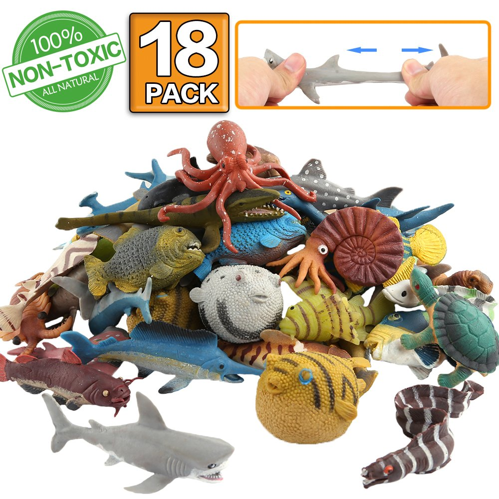 ValeforToy Ocean Sea Animal,18 Pack Rubber Bath Toy Set,Food Grade Material TPR Super Stretchy, Some Kinds Can Change Colour, Squishy Floating Bathtub Toy Figure Party,Realistic Shark Octopus Fish