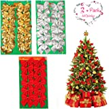 MCpinky Christmas Ribbon Bows Decorations Christmas Tree Charms Ornaments (Red, Gold, Silver)