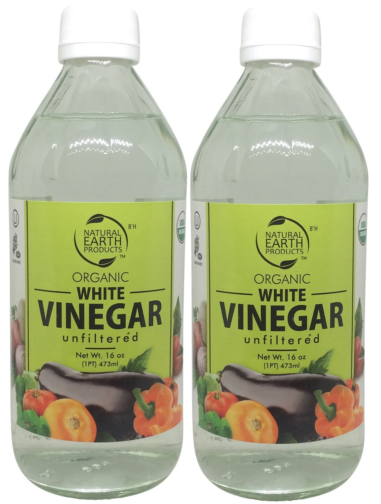 Natural Earth Organic White Vinegar Unfiltered - 100% USDA Organic - Best For All Household Needs and Beyond - Certified Kosher - 2 Pack of 16 Fl. Oz