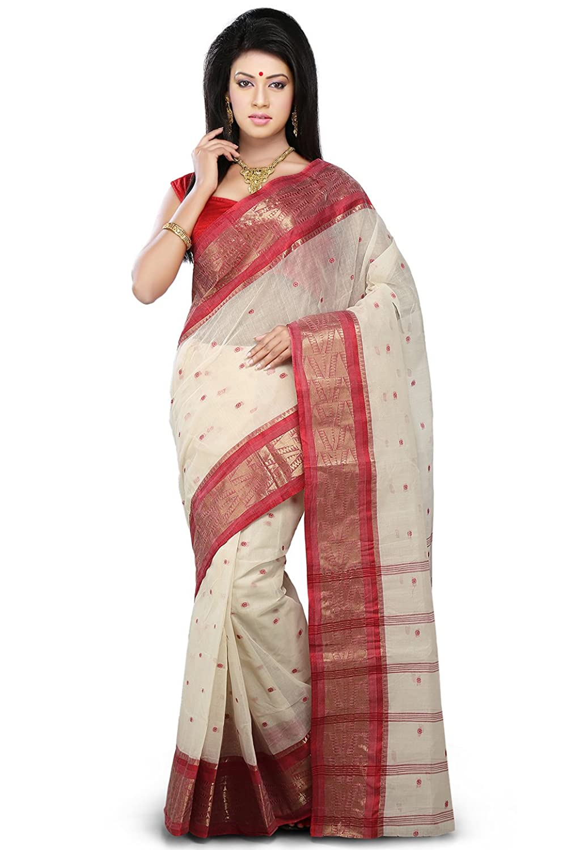 Utsav fashion shopping bag - Utsav Fashion Cotton Saree Spn2569_off White Red Amazon In Clothing Accessories