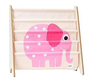3 Sprouts Book Rack – Kids Storage Shelf Organizer Baby Room Bookcase Furniture, Elephant