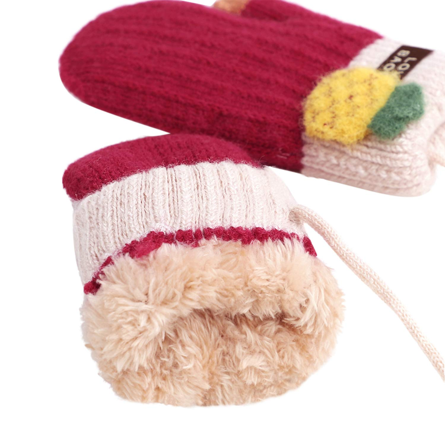 Thicken Fleece Knit Gloves with Fruits Decor Kids Cycling Mittens for 3-6 Yrs