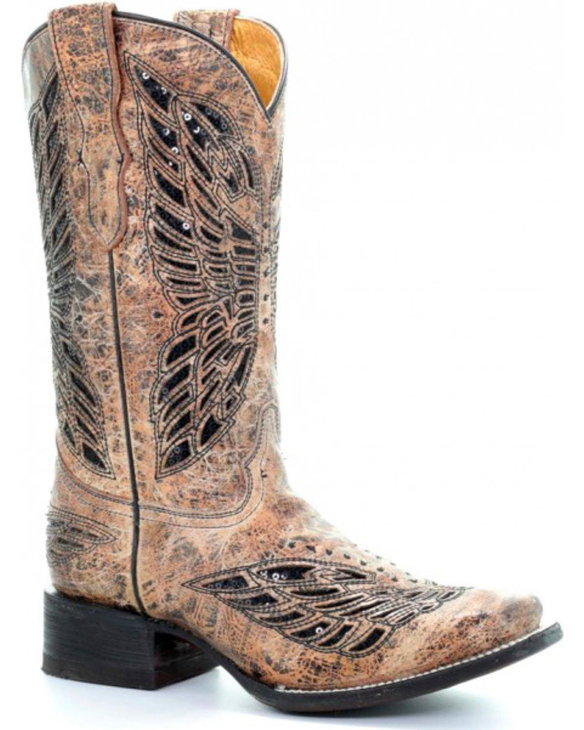 Corral Girls' Butterfly Inlay Boot Square Toe Tan 6 D