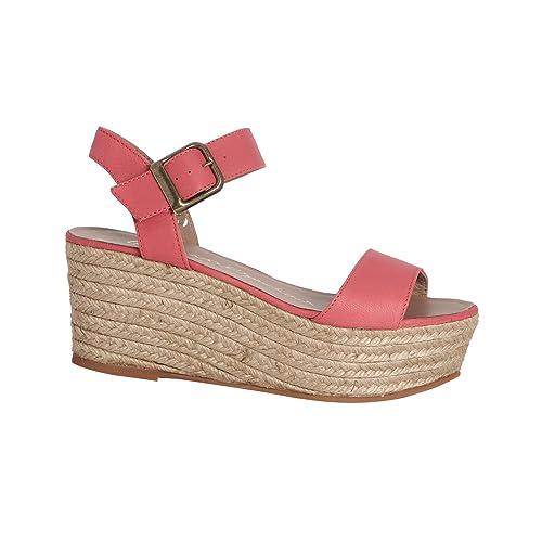 GAIMO ESPADRILLES - Alpargatas de cuero para mujer rosa rosa: Amazon.es: Zapatos y complementos