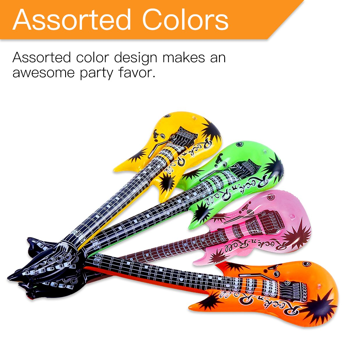 Novelty Place Inflatable Guitar Set for Kids & Adults, 35 Inches (Pack of 12) by Novelty Place (Image #3)