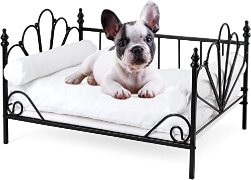WANTRYAPET Dog Pet Sofa Bed with Metal Frame, Puppy Lounge Detachable Bed with Washable Velvet Mattress, 2 Pillow for Small Dog Cat Pet, 21.6 W X 15 D X 13 H