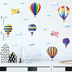 Hot Air Balloon Kids Wall Decals for Home Decor Cloud Balloon Wall Stickers Art Murals, Creative Airplane Wall Posters Colorful Wallpaper for Nursery Boys Room