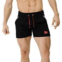 """BROKIG Men's 5"""" Bodybuilding Gym Shorts,Workout Running Lightweight Shorts with Zip-Pockets"""