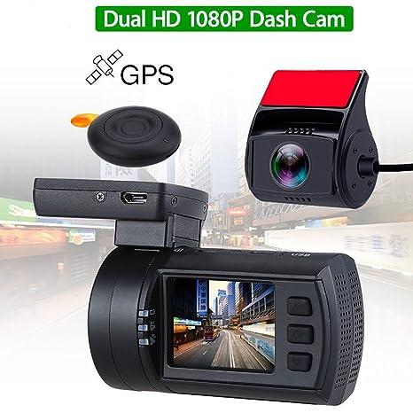 Mini 0906 GPS cámara de salpicadero de coche con doble lente HD 1080P cámara de salpicadero