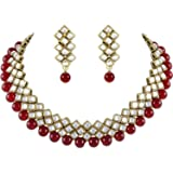 Shining Diva Red Kundan Pearl Choker Traditional Necklace Jewellery Set with Earrings for Women