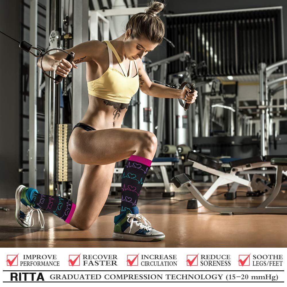 Ritta Compression Socks, Compression Sock Women & Men - 15-20 mmHg is Best Graduated Athletic & Medical for Running, Athletic Sports, Crossfit, Flight Travel (7 Pairs Assorted-1, L/XL) by Ritta (Image #2)