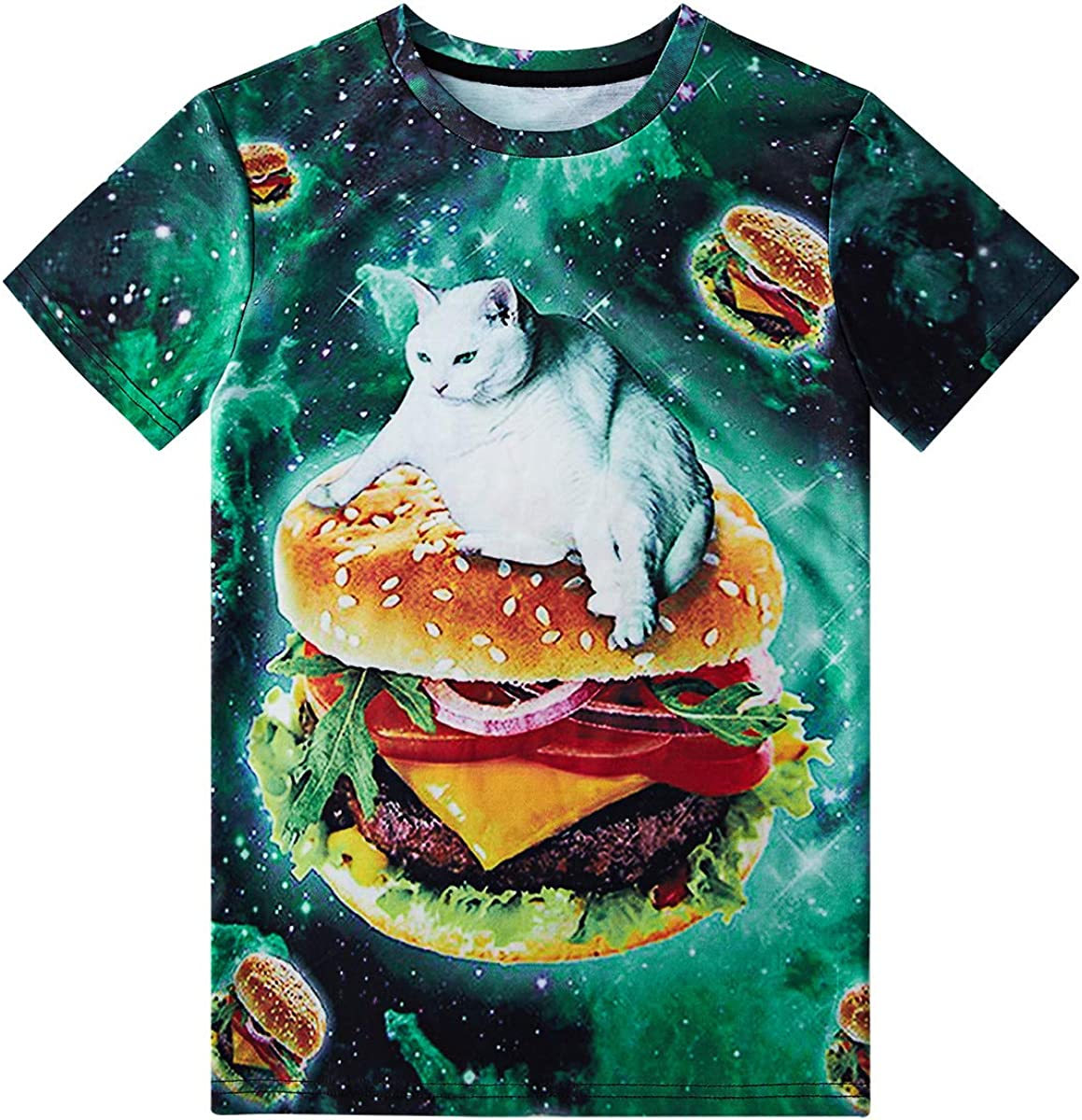 Loveternal Boys Girls Funny 3D Graphic Polyester Sport Summer Cool Short Sleeve T Shirts Size 6-14