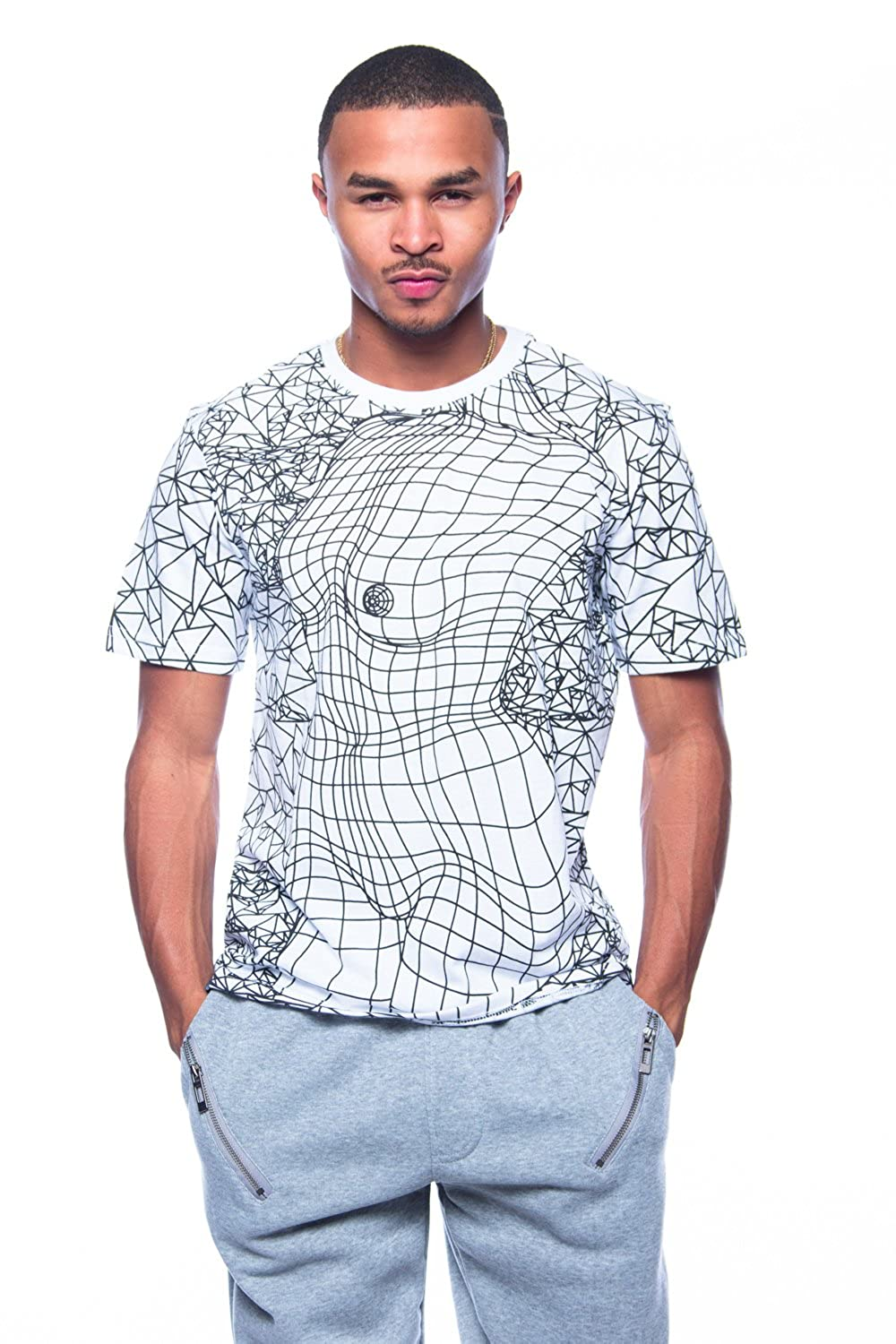 Mens Crew Neck Scribble Slim Fit S/S Women Body Art Tee D4TE15