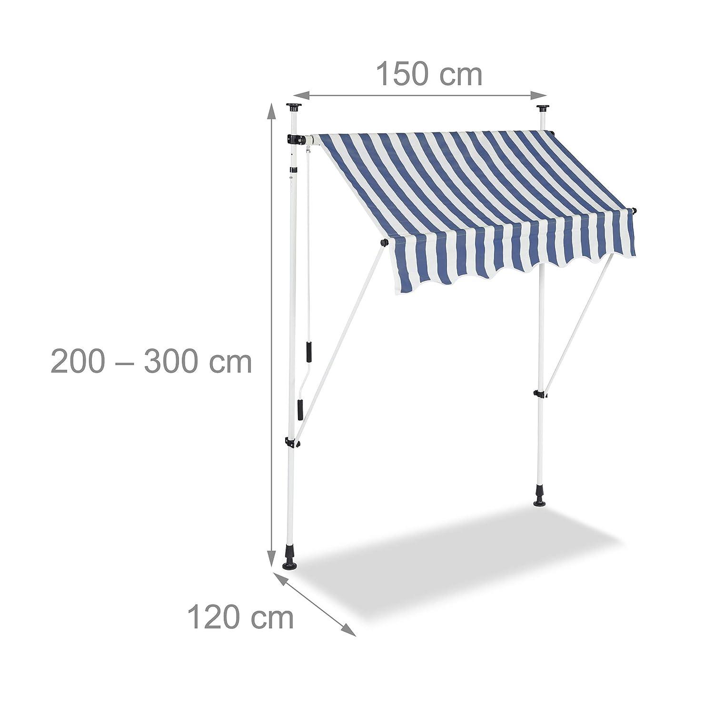 Bleu-Blanc 150 x 120 cm Relaxdays Auvent r/étractable 150 cm Store Balcon Marquise Soleil terrasse Hauteur r/églable sans per/çage