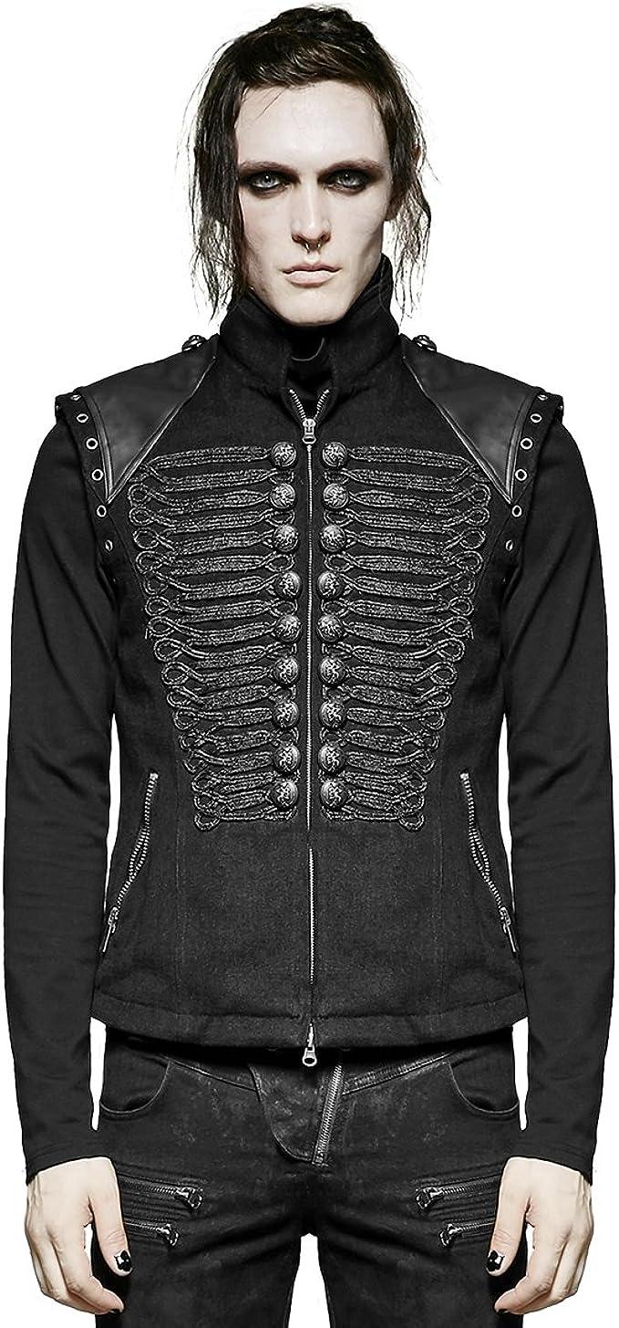 Punk Rave Mens Steampunk Waistcoat Vest Black Gothic Faux Leather Dieselpunk VTG