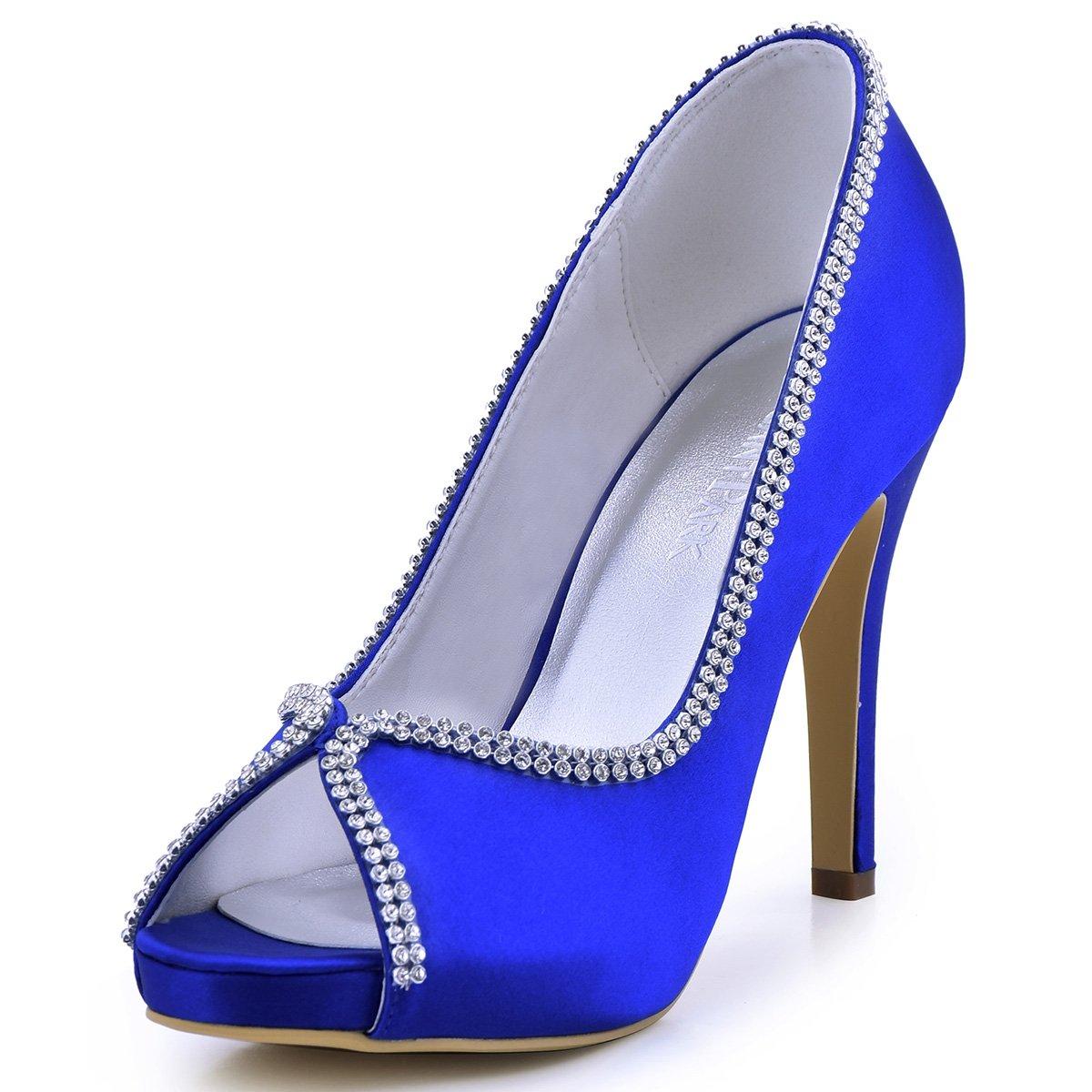 ElegantPark EP11083 Women Pumps Peep Toe Rhinestones Platform High Heel Satin Evening Wedding Dress Shoes B00ARD1TBO 5 B(M) US (true fitting 6 US)|Blue