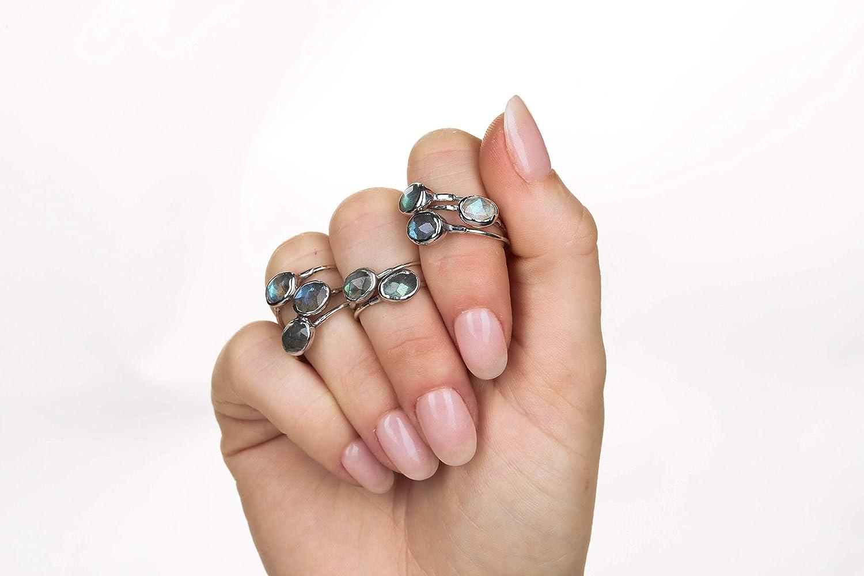 Sterling Silver Raw Rainbow Labradorite Ring Size 7