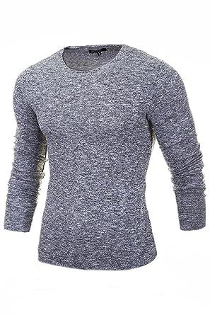 Merish Maglione lavorato a maglia uomo, Maglione di lana collo rotondo, Slim Fit, vari colori, Sweatshirt 306