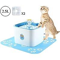 AOLVO Katze Brunnen Pumpen, Automatische Zirkulierenden Ultra Stille Katze Wasserfall, Pet Trinkbrunnen Spender für Katzen und Hunde mit 2-1 Blumen und 1 Silikon - Matte - 2.5l (85.)