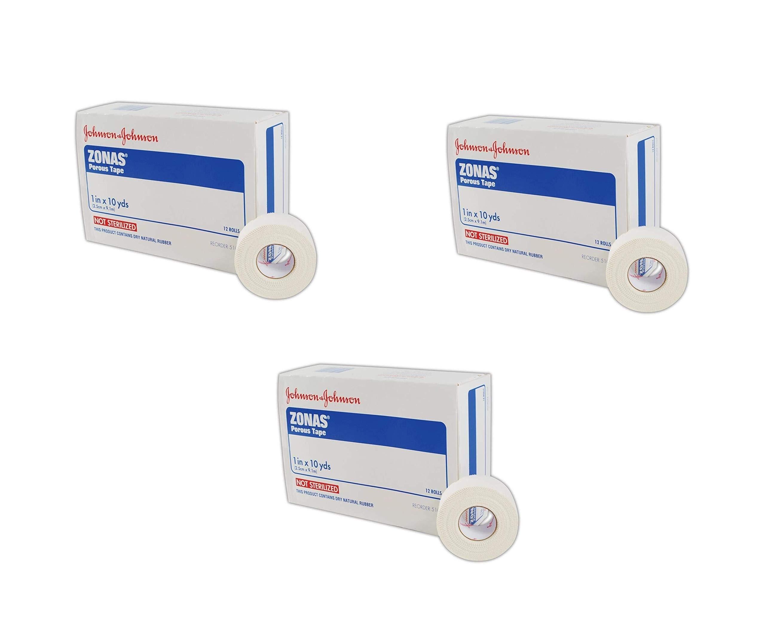 Johnson & Johnson JJ5104 Zonas Porous Adhesive Tape, 1'' x 10'', White, 12 Count (3 Pack)