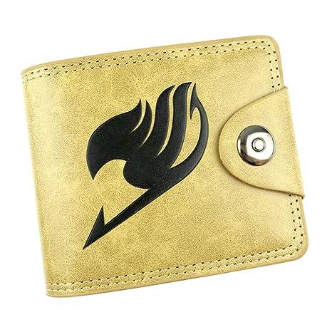 Cosstars Fairy Tail Anime Cartera de Cuero Artificial Monedero Tríptico Billetera Clásico Portatarjetas para Hombre