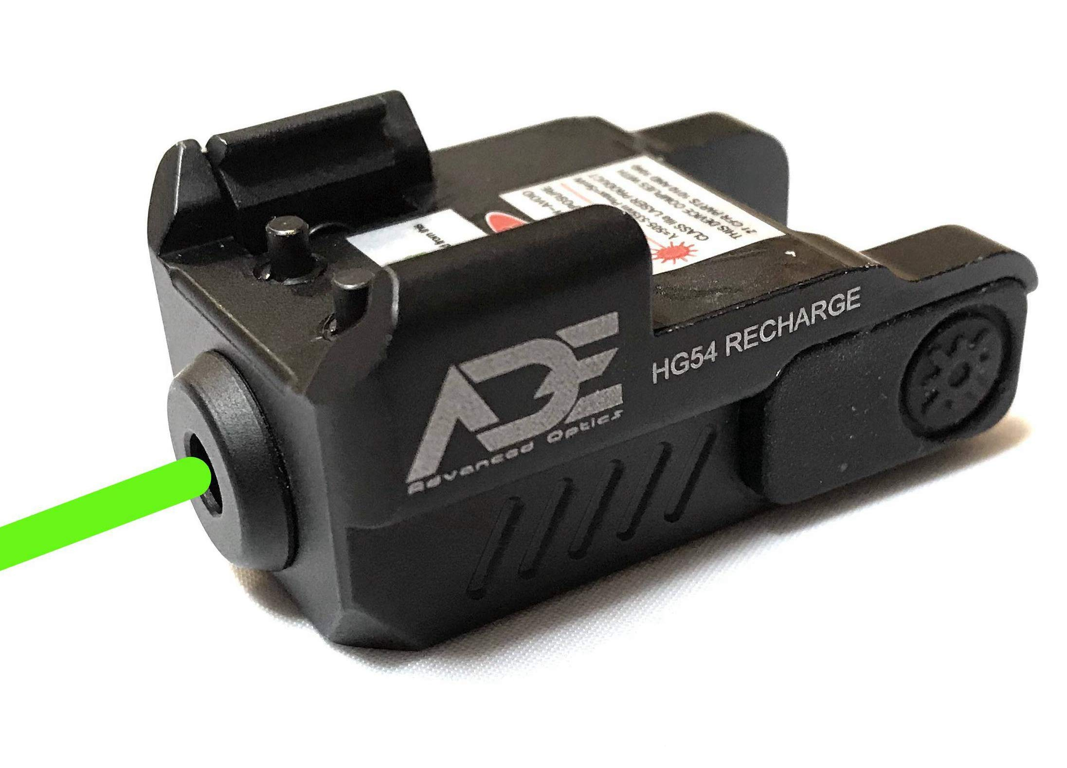 Ade Advanced Optics HG54G Rechargeable Strobe Laser Sight for Pistol Handgun, Green by Ade Advanced Optics