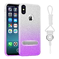 iPhone X/10 Hülle, WZE-Shock Absorption, Kratzfestes TPU Cover + Magnetic Plastic Foothold Bling Crystal Clear Premium 3 Layer Mischung Schutzhülle für iPhone X/10