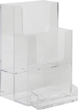 Catalog /& Booklet Display Pack of 6 Literature Plastic Flyer Holder 8.5 x 11 with Business Card Pocket Clear-Ad Magazine Acrylic Stand Rack Suitable for Brochure LHF-P120 Pamphlet