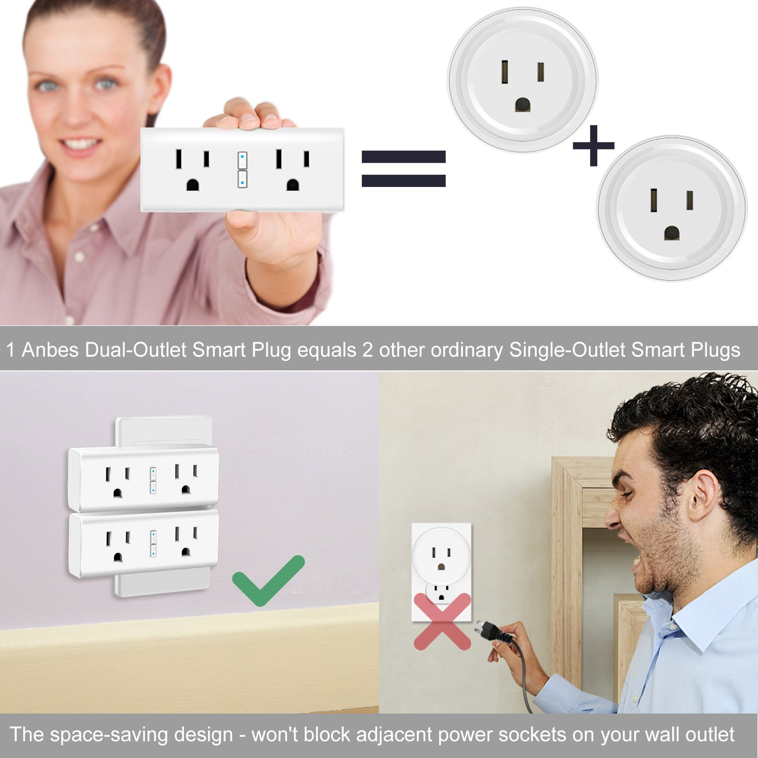 Anbes Wi-Fi Smart Plug Mini Outlet with Energy Monitoring, Alexa Plug Smart Socket Compatible with Alexa and Google Home, Timing Function, Dual Outlets Work Individually or in Groups (2 Pack) by Anbes WP6 (Image #2)