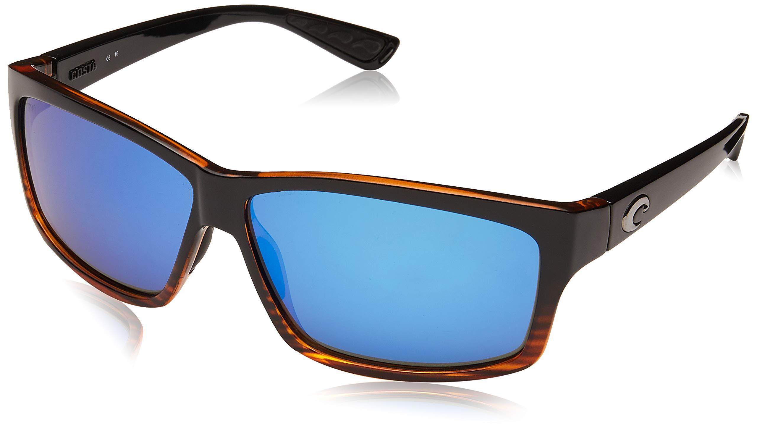 Costa del Mar Cut Polarized Rectangular Sunglasses, Coconut Fade/Blue Mirror 580 Glass by Costa Del Mar