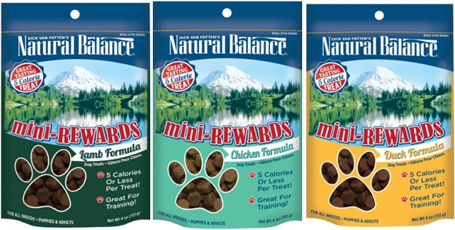 Dick Van Patten's Natural Balance Mini-Rewards Dog Treats 3 Flavor Variety Bundle: (1) Lamb, (1) Duck, and (1) Chicken, 4 Ounces each (3 Bags Total)