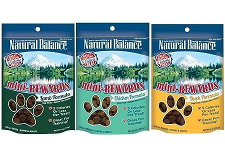 Dick Van Patten s Natural Balance Mini-Rewards Dog Treats 3 Flavor Variety Bundle 1 Lamb, 1 Duck, and 1 Chicken, 4 Ounces each 3 Bags Total