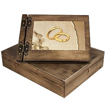 Amazon De Trauung Holzfotoalbum Mit Ringe In 3 D Und Holzbox Aus