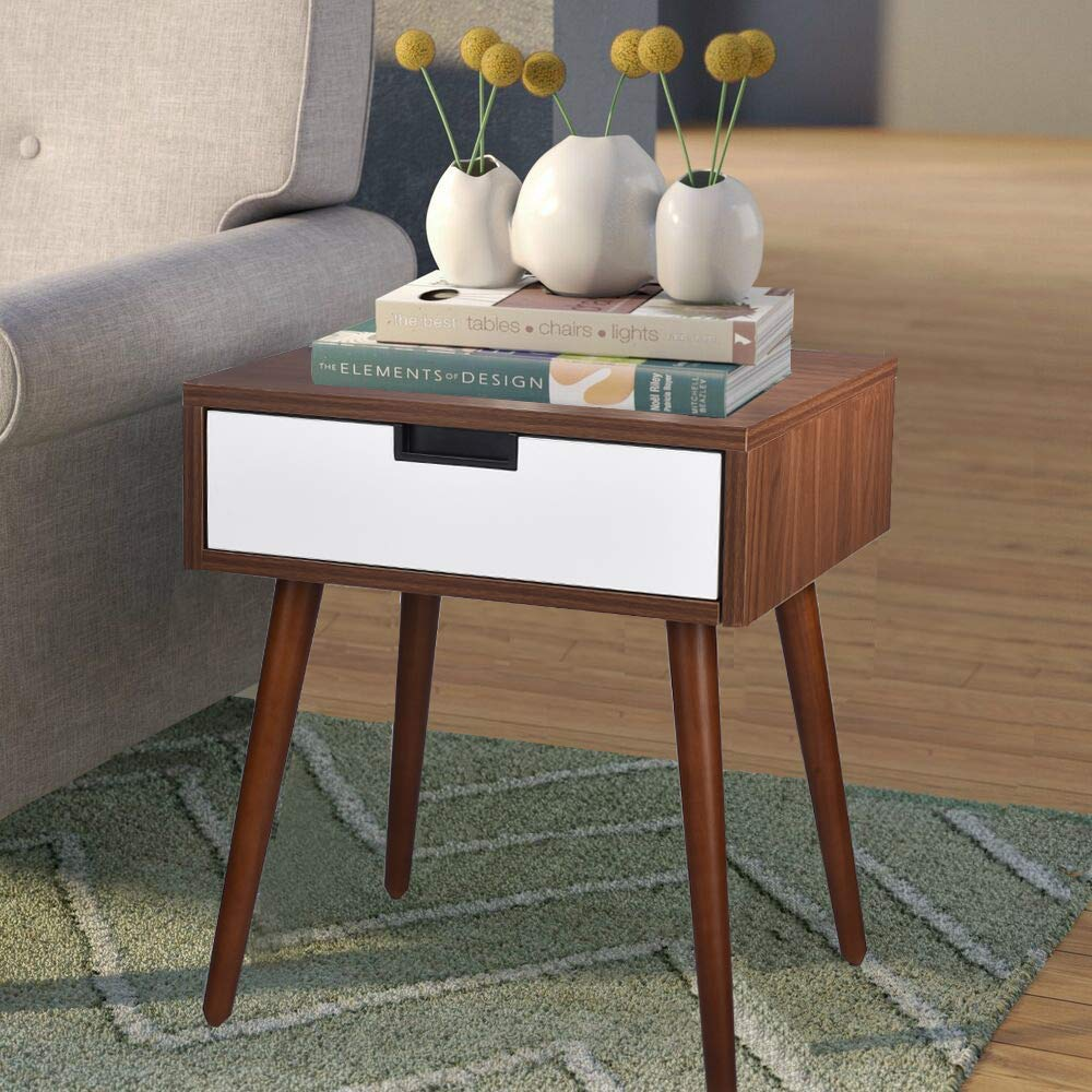 Living Room Frylr Nightstand End Table with Drawer Bed Sofa Side Bedside Tables with Infrared Sensor LED Night Light for Bedrooms Light Walnut and White