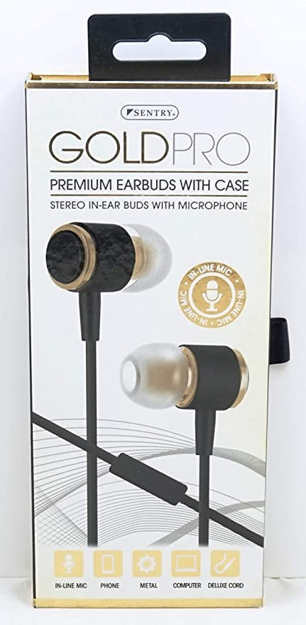 ffba050443f Amazon.com: Sentry Gold Pro Metal Earbuds with In-Line Mic & Deluxe ...