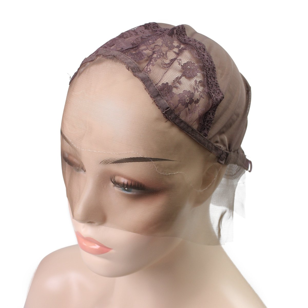Lace Wig Cap with Free Wig Combs Swiss Breathable Lace Front Wig Caps for Making Wigs with Adjustable Straps Small Size Skin Color Dark Brown Xuchang Yierya Shangmao Co. Ltd