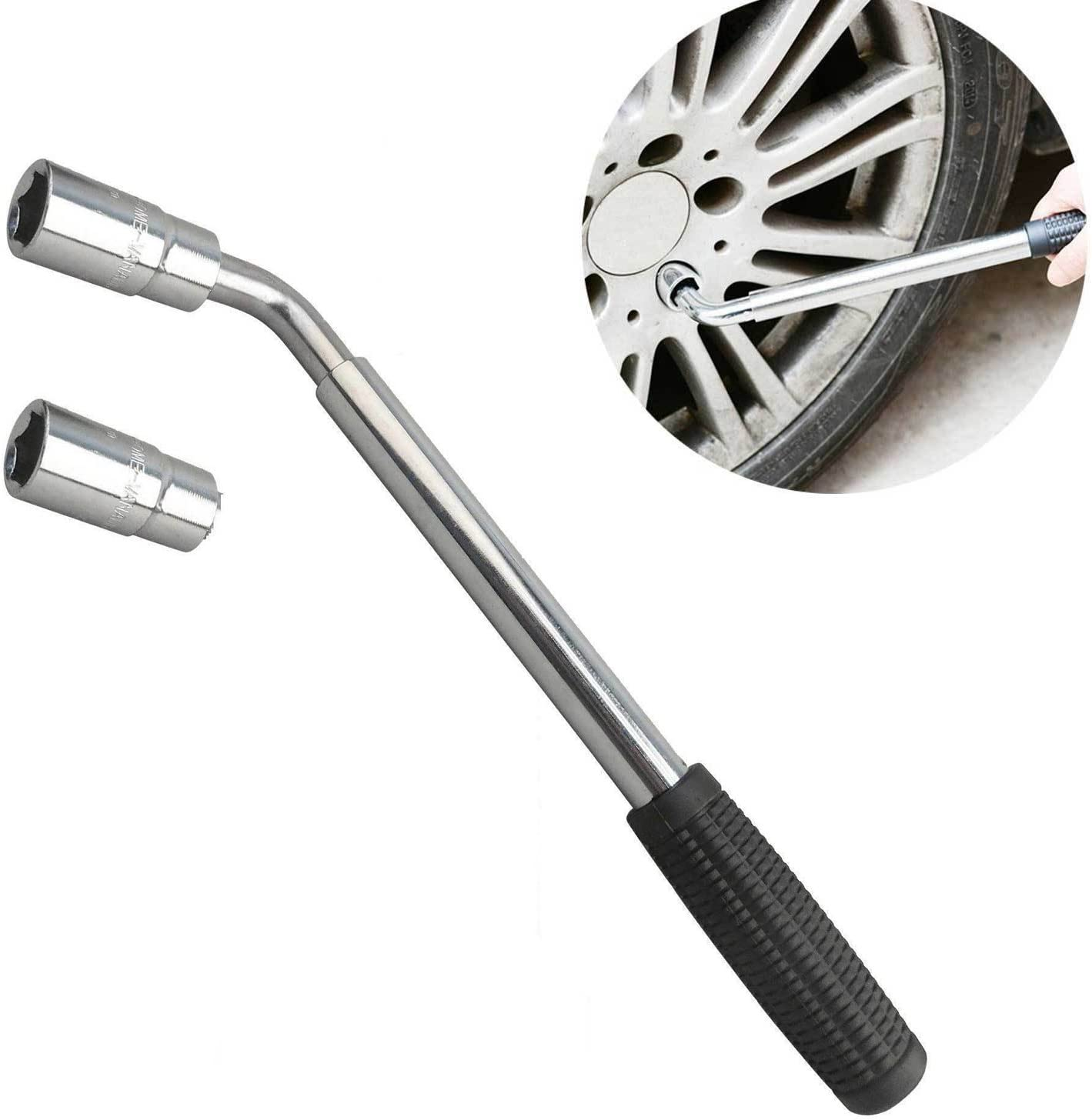 4 Sockets 17//19//21//23mm Standard DICN Telescopic Wheel Wrench Extendable Nut Lug Auto Tools