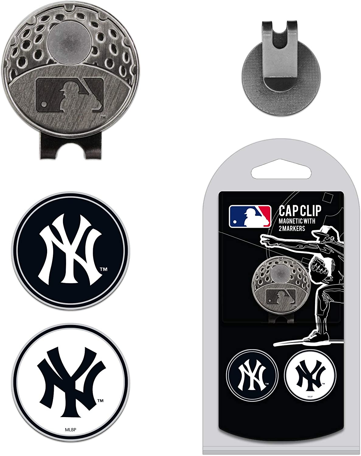 Team Golf MLB Golf Cap Clip with 2 Removable Double-Sided Enamel Magnetic Ball Markers, Attaches Easily to Hats