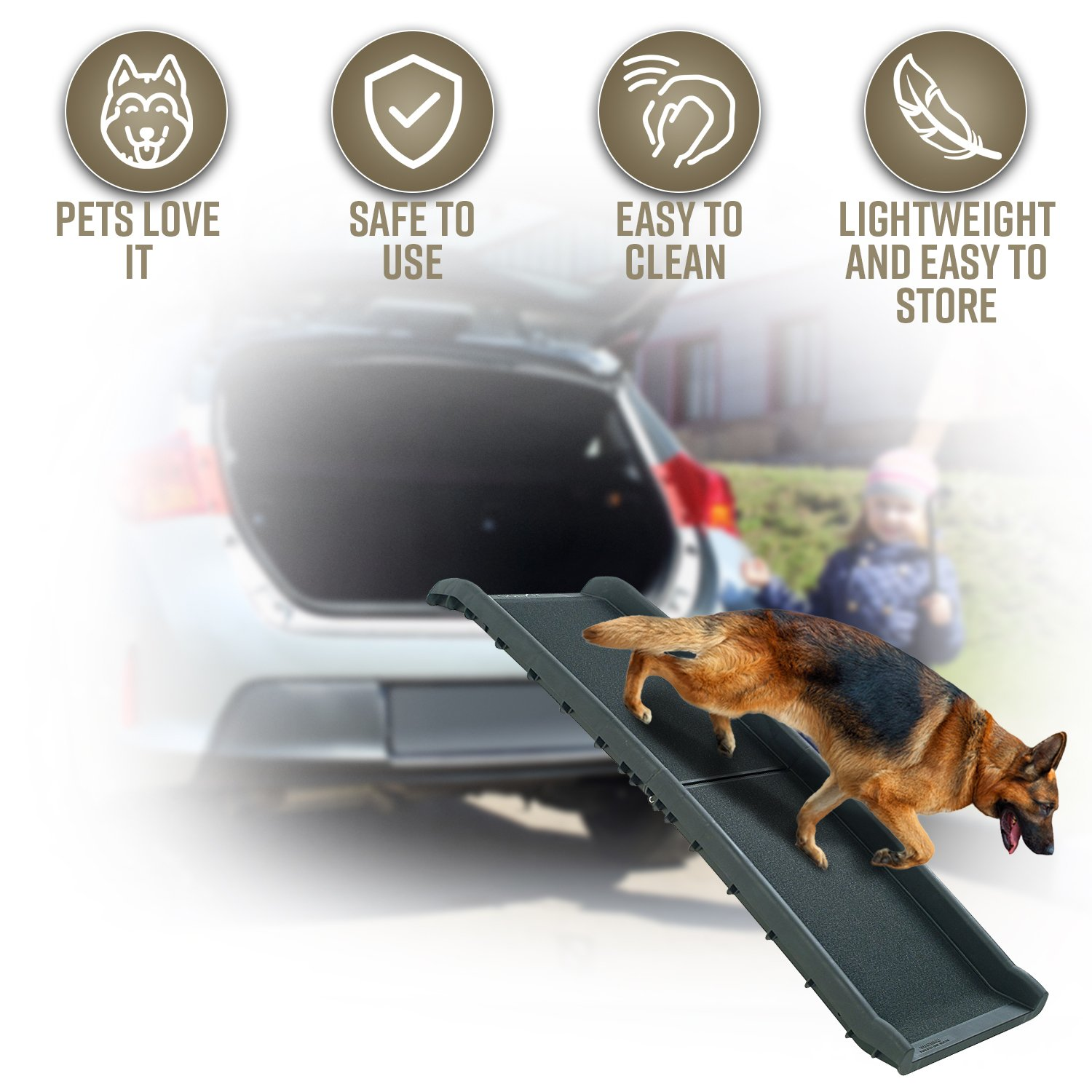 Perfect Life Ideas Pet Ramp for Car SUV Truck Boat - Folding Portable Dog Ramps for Large Medium Small Dogs, Outdoor Indoor Use for High Beds by Old Injured Pets Dogs Cats Better than Stairs Steps