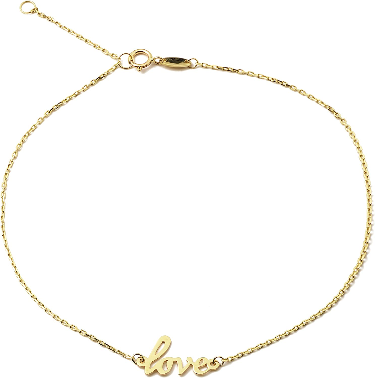 LOVEBLING 10K Yellow Gold .5mm Rolo Chain with Love Charm Anklet Adjustable 9 to 10 #50